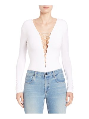 T by Alexander Wang stretch-modal lace-up bodysuit