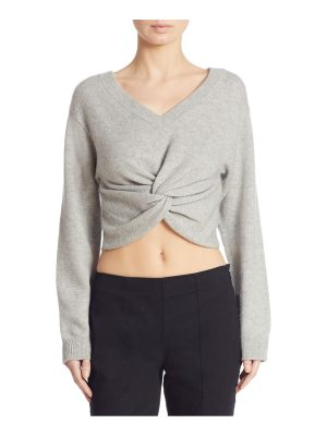 T by Alexander Wang twist-front cropped wool & cashmere sweater