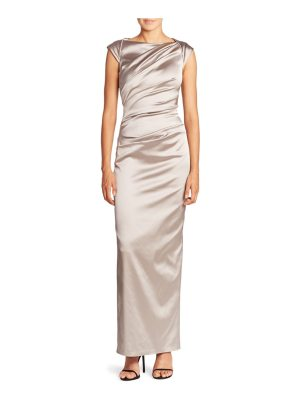 Talbot Runhof gathered satin column gown