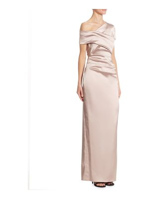 Talbot Runhof ruched satin one-shoulder gown