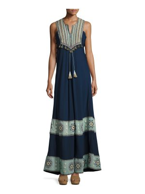 Talitha Collection Embroidered Cotton-Silk Sleeveless Maxi Dress