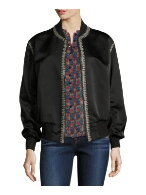 Talitha Collection Embroidered Silk Satin Reversible Bomber Jacket