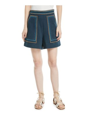 Talitha Collection Jeweled Embroidery High-Waist Cotton Twill Shorts