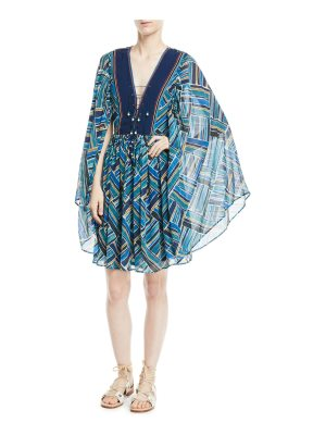 Talitha Collection Lace-Up Front Kimono Sleeves Short Silk Printed Caftan