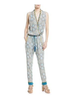Talitha Collection Sleeveless Twisted Racerback Printed Jumpsuit with Pompom Trim