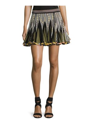 Talitha Collection Striped Inverted-Pleat Flounce Miniskirt