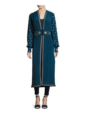 Talitha Collection Tabia Cross-Embroidered Silk Crepe Robe Jacket