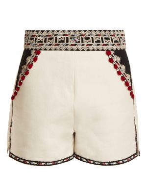 Talitha Embroidered High Rise Cotton Twill Shorts