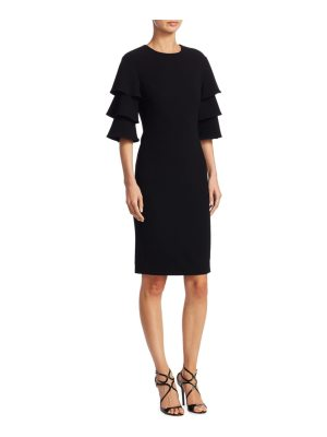 Teri Jon crepe tiered-sleeve sheath dress