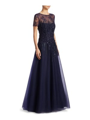 Teri Jon illusion floor-length tulle gown