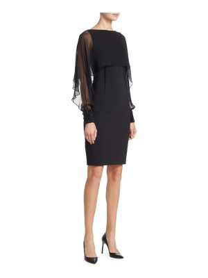 Teri Jon illusion sleeve cape dress