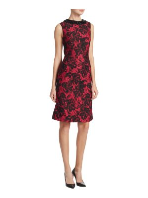 Teri Jon sleeveless brocade sheath dress