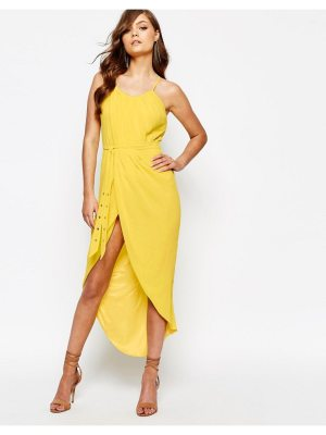 TFNC Pleated Wrap Front Midi Dress with Belt