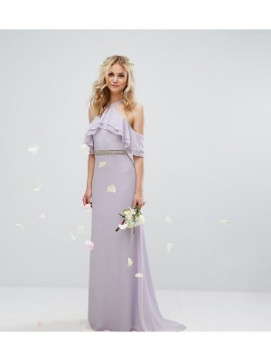 TFNC WEDDING Frill Detail Maxi Dress with Embellished Waist and Fishtail