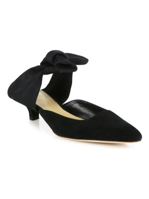 THE ROW coco bow suede & grosgrain mules