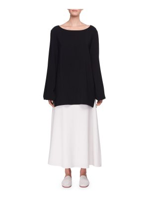 THE ROW Sorel Bateau-Neck Long-Sleeve Silk Top