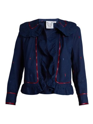 THIERRY COLSON Rita Embroidered Ruffle Trimmed Cotton Jacket