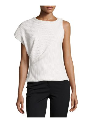 Thierry Mugler One-Sleeve Asymmetric Plissé Top