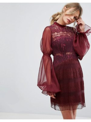 Three Floor Lace Mini Dress with Blouson Sleeves