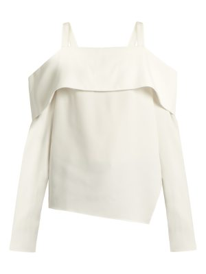 Tibi Cut-out shoulder asymmetric crepe top