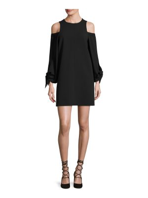 Tibi Cold-Shoulder Tie-Sleeve Crepe Mini Dress