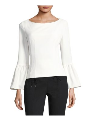 Tibi crepe boatneck bell-sleeve top