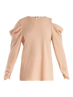 Tibi Cut-out shoulder draped-sleeve crepe top