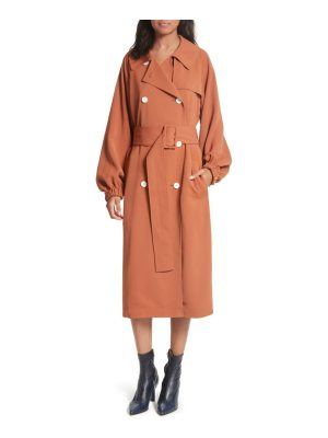 Tibi draped twill trench coat