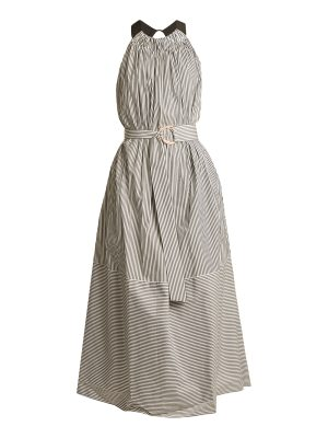 Tibi Ruffled halterneck striped cotton dress
