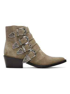 TOGA PULLA Suede Four-Buckle Western Boots