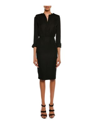 TOM FORD 3/4-Sleeve Elastic-Waist Linen-Blend Dress