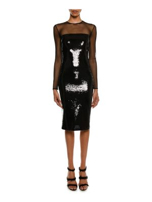TOM FORD Long-Sleeve Illusion-Yoke Fitted Sheath Cocktail Dress