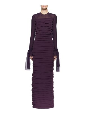 TOM FORD Long-Sleeve Pleated Chiffon Gown