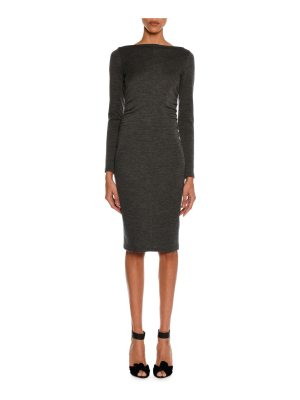 TOM FORD Mélange Jersey Long-Sleeve Ruched Dress