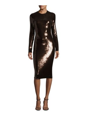 TOM FORD Sequined Long-Sleeve Scoop-Neck Dress