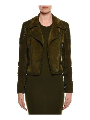 TOM FORD Zip-Front Suede Moto Jacket with Trapunto Details