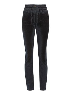 Tomas Maier high-rise velvet-coated slim