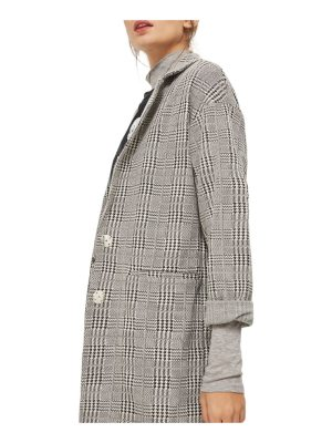 Topshop check jersey duster coat