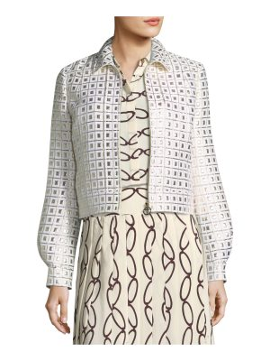 Tory Burch Brenna Zip-Front Gridded Lurex® Jacket