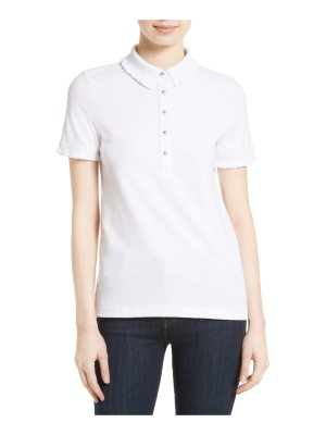 Tory Burch lacey ruffle stretch pique polo