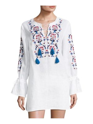 Tory Burch wildflower embroidered bell-sleeve linen beach tunic