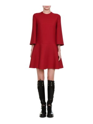 Valentino 3/4-Sleeve Crepe Couture A-Line Dress
