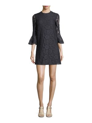 Valentino 3/4-Sleeve Heavy Lace Shift Dress
