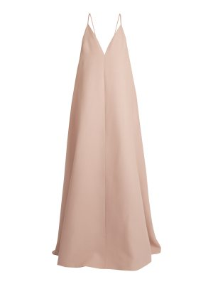 Valentino Deep V-neck wool and silk-blend gown