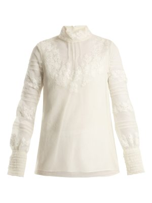 Valentino high neck floral embroidered tulle top