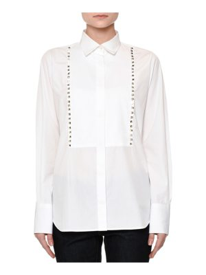 Valentino Long-Sleeve Rockstud-Trim Blouse