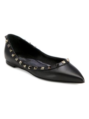 Valentino noir rockstud leather point-toe ballet flats