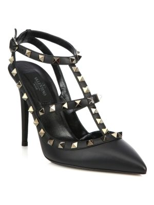 Valentino noir rockstud leather ankle-strap sandals