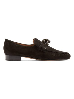 Valentino Panther-embellished suede loafers