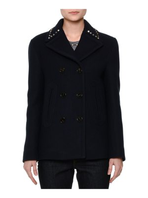 Valentino Rockstud-Trim Double-Breasted Peacoat